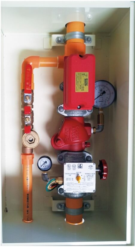 Alarmklep voor plastic- (CPVC) of gegalvaniseerde waterleiding